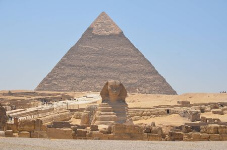 PYRAMID OF KHEPHREN AND STATUE OF THE SPHINX CAIRO