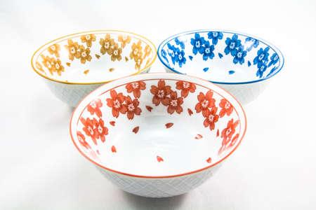 Three bowls on white background photo