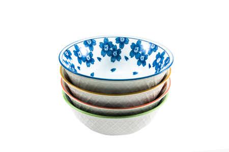 Four bowls on white background photo
