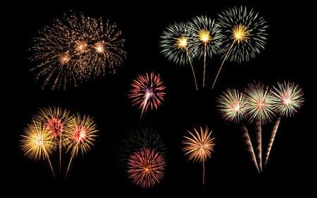 fireworks background: Colorful fireworks on black background