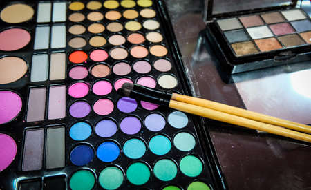 cosmetics collection: Makeup cosmetics collection colorful Stock Photo