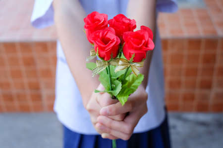 Hand holding bouquet of red roses Imagens