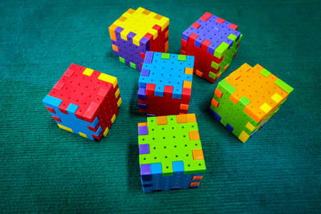 rubik: jigsaw puzzle rubik cube toy, colorful game