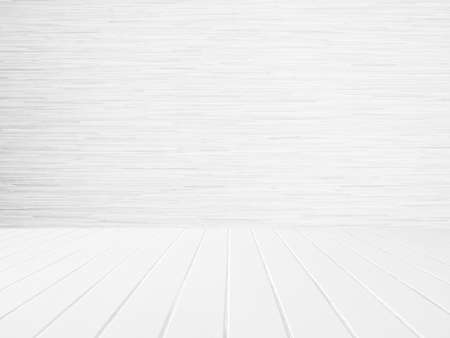 White wood wall and white wood floor Stock Photo