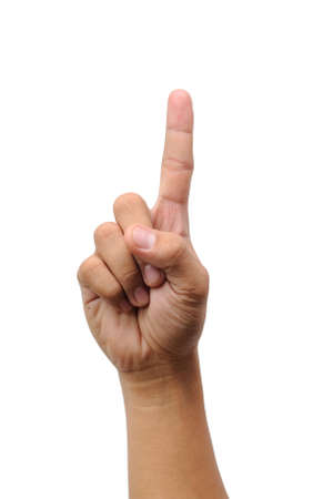 Male hand isolated on white background showing one finger