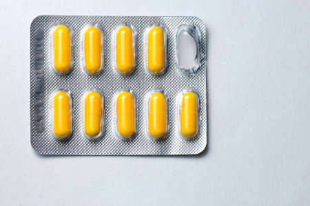 One packs of pills isolated on white background
