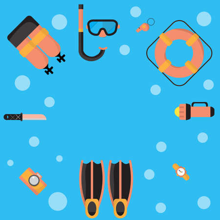 The illustrations are dive equipment icons, including diving   masks, oxygen tanks, fins, dive cameras, lifebuoys, watches, dives,   knives, flashlights, whistles, and icons.