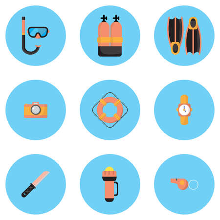 deep sea diver: The illustrations are dive equipment icons, including diving   masks, oxygen tanks, fins, dive cameras, lifebuoys, watches, dives,   knives, flashlights, whistles, and icons.