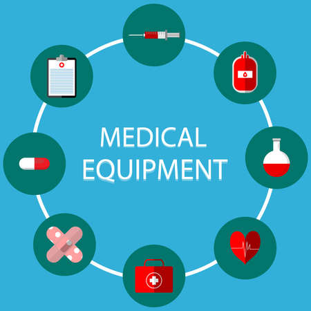 Medical illustrations include: blood bags, test tubes, syringes,   heart pumps. Pasteur first aid box, treatment table and medicine can be   used in various media. Illustration