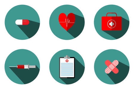 Medical illustrations include: blood bags, test tubes, syringes, heart pumps. Pasteur first aid box, treatment table and medicine can be used in various media.