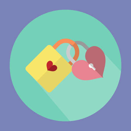 wedded: The illustration is a 2 key icons together.Yellow key with  pink Key Heart. Illustration