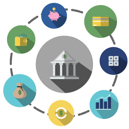 Illustrations are icons or symbols. About   financial business, savings, investment can be   used in various media. Illustration