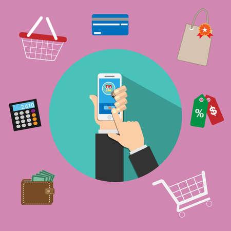 일러스트레이션은 애플리케이션을 통한 모바일 온라인 구매입니다. 아이콘을 통해 사용할 수있는 많은 옵션이 있습니다. 다양한 미디어에서 사용할