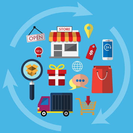 gift basket: A symbol icon for online shopping. Show business functions Can be used in various media. So we can understand the work of the business.
