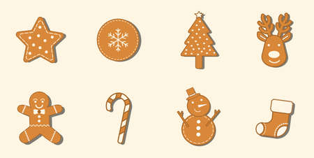 8 Gingerbread cookies Christmas icon set.