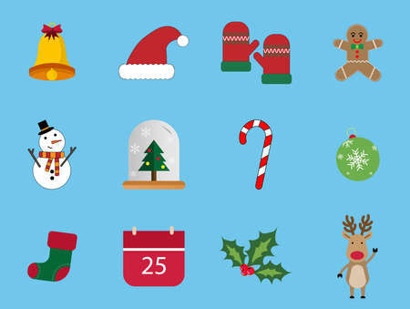 A set of 12 Christmas icons.