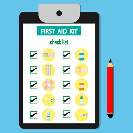 Check list First aid kit  on the paper. Medical equipment and medications for informativeness.vector illustration.