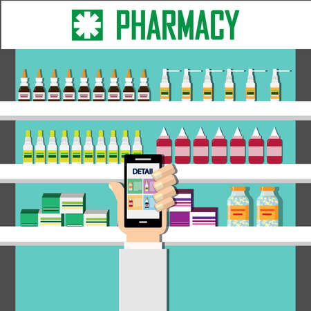 Show detail the medicine on screen a smartphone . Modern interior pharmacy or drugstore. Medicine pills capsules bottles vitamins and tablets on store shelves. Vector illustration in flat style