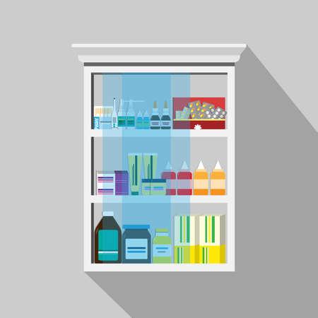Wood Medicine cabinet inside have many medicine on the white background.Vector flat illustration.