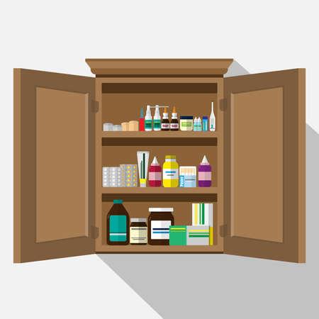 Wood Medicine cabinet.Vector flat illustration. Vectores