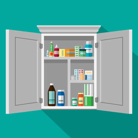 White Cupboard with medicines. Vector  illustration.