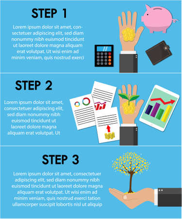Infographics financial profit growth. savings money,growth process money, investment. Vector flat design.