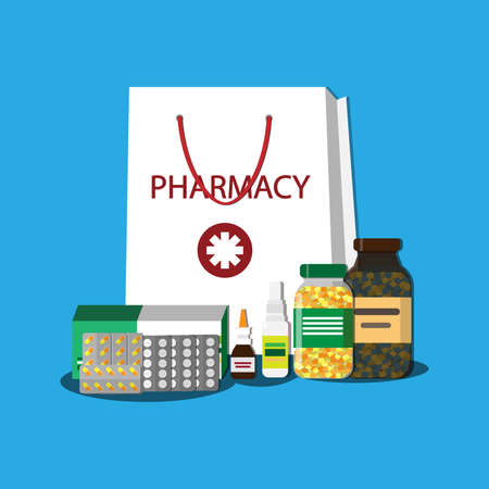 White shopping bag with different medical pills and bottles, healthcare and shopping, pharmacy, drug store. vector flat illustration.