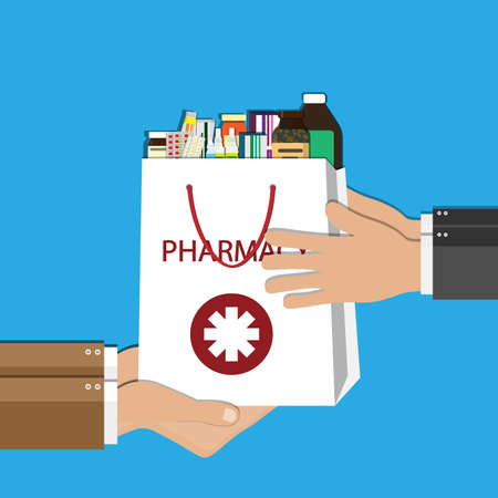 White shopping bag with different medical pills and bottles in hand. Healthcare and shopping, pharmacy, drug store. Vector illustration in flat. 일러스트