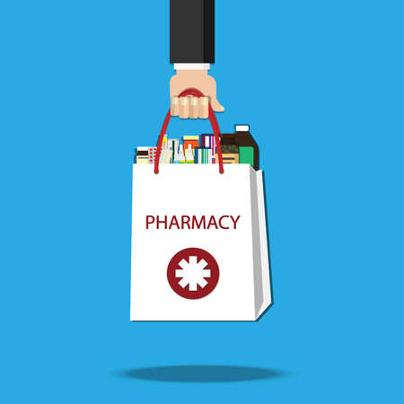 Hand holding White shopping bag with different medical pills and bottles in hand.Healthcare and shopping, pharmacy, drug store. Vector illustration in flat.