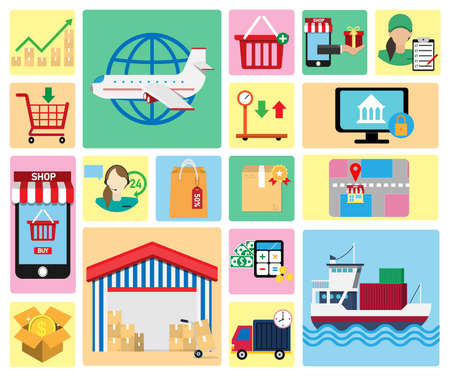 Set of shopping icons.Can be used for workflow layout template, banner, marketing,shopping, business,infographics.