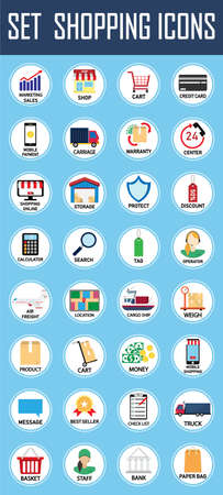 Set of shopping icons.Can be used for workflow layout template, banner, marketing,shopping, business,infographics. Stock Illustratie