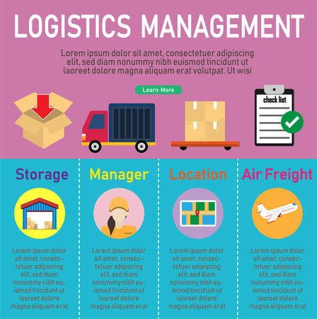 Storage and delivery Concept infographics with flat Icons air cargo, shop. vector illustration.