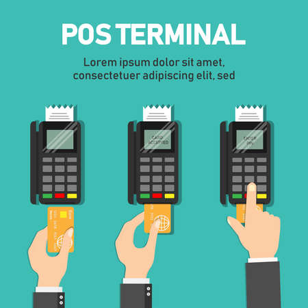 Payment pos terminal. Wireless Payment by credit card.