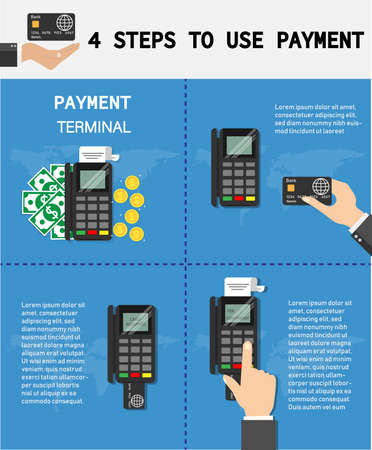 Use credit card with payment terminal.hand pushing credit card from the pos terminal.Vector illustration. Stock Illustratie