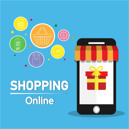 Online shopping concept on smartphone. vector illustration. Can be used for workflow layout template, banner, marketing,shopping, infographics. Illustration