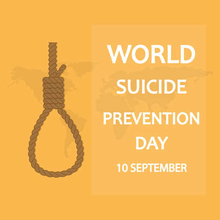 International Day for the Prevention of Suicides, 10 September. The background of the world map and the inscription International Suicide Prevention Day. Vector illustration. Vettoriali