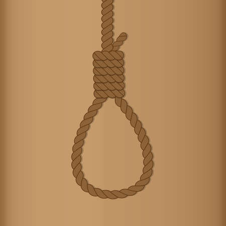 Rope hanging loop. Suicide and death by hanging vector illustration.