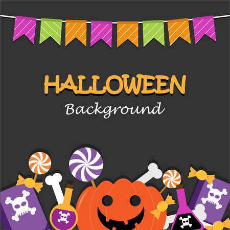 Halloween theme background have poison,magic book, pumpkin, candy, bone about Halloween Day.