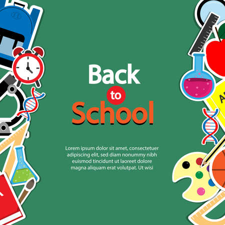 Back To School Theme  Icon Set on Chalkboard Textured Backdrop. Arts and Science Stickers. Education Concept. Illustration