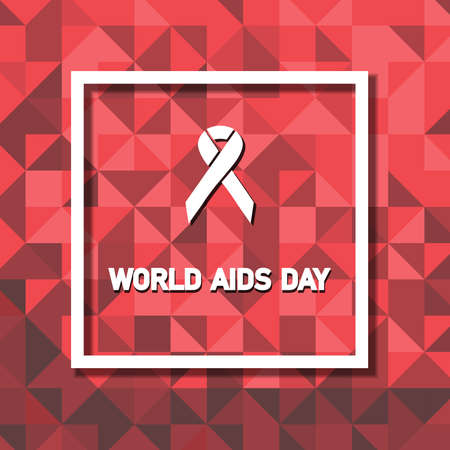 Aids Awareness Red Ribbon on Frame background. World Aids Day concept. Vector Illustration. Çizim