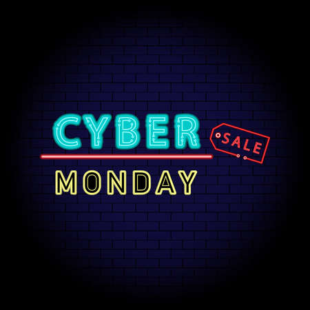 Cyber Monday Sale concept is neon style on brick wall  about advertising, advertisement of buy and sales rebates of cyber Monday. Vector illustration. 일러스트
