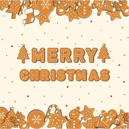 Cookies Christmas icon set palce on background and Merry Christmas character.Can be used in the advertising  to use.