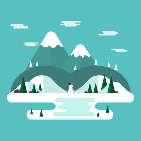 Winter vacation flat landscape.Winter time concept background in flat design  with mountains and snowman.