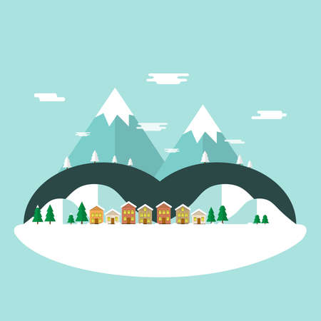 Winter vacation flat landscape.Winter time concept background in flat design  with houses,mountains and snowman.