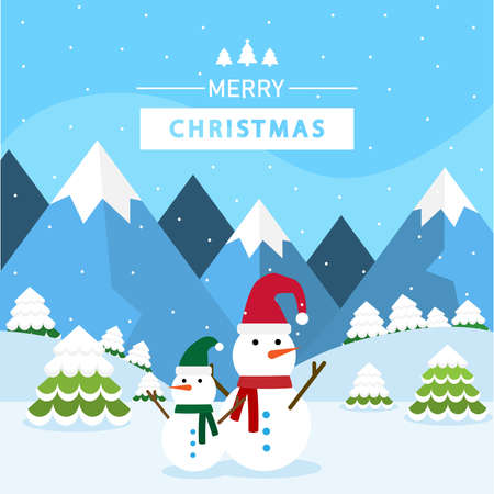 Christmas background with flat design. Landscape winter.