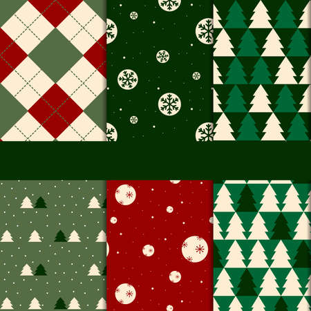 6 Pattern Christmas background collection.use Christmas Day. Stock Illustratie
