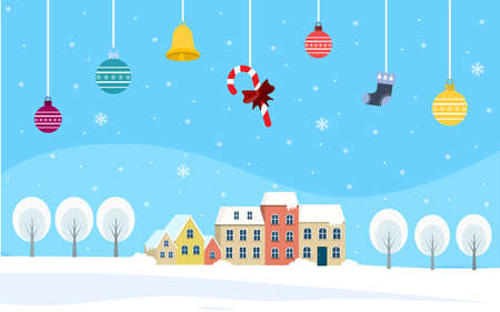 Candy ,bell and ball in hanging on village snow background. Design Christmas Can be used for advertising.