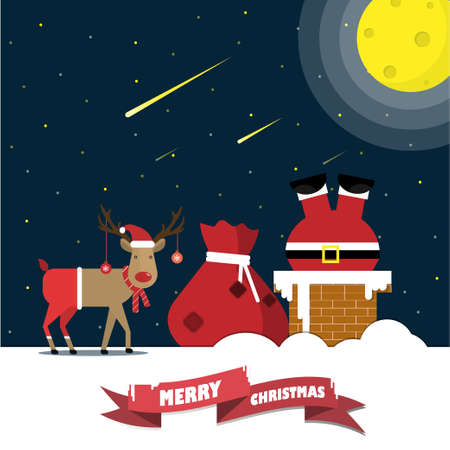 Santa Claus climbed down the chimney with gift bags and reindeer on the roof at night.