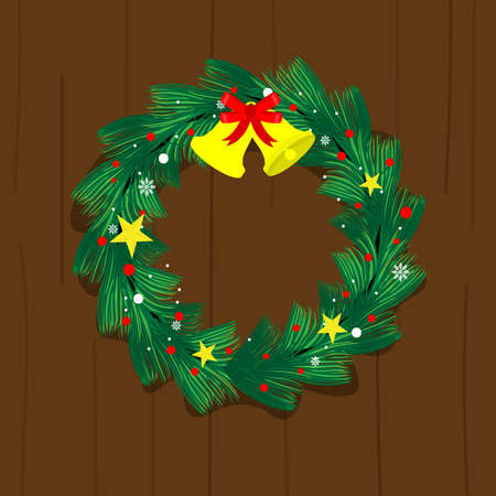 Christmas wreath made of pine nuts, naturally decorated with gold stars ,bell and snowflakes, hangs the door. Decorate beautiful look. Stock Illustratie