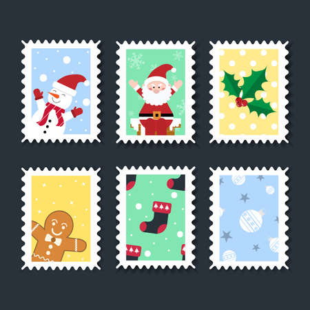 Christmas stamps vector pattern on  background. Christmas beautiful cheerful cute stamp with holiday symbols and elements of decoration.Set for the decoration of Christmas cards and gifts.